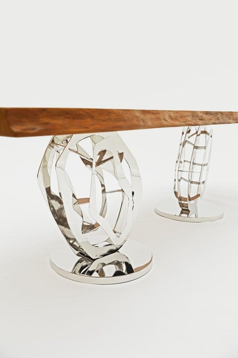 New Zealand Odyssey Modern Organic Ancient Wood Live Edge Slab Table, Polished Nickel Base For Sale