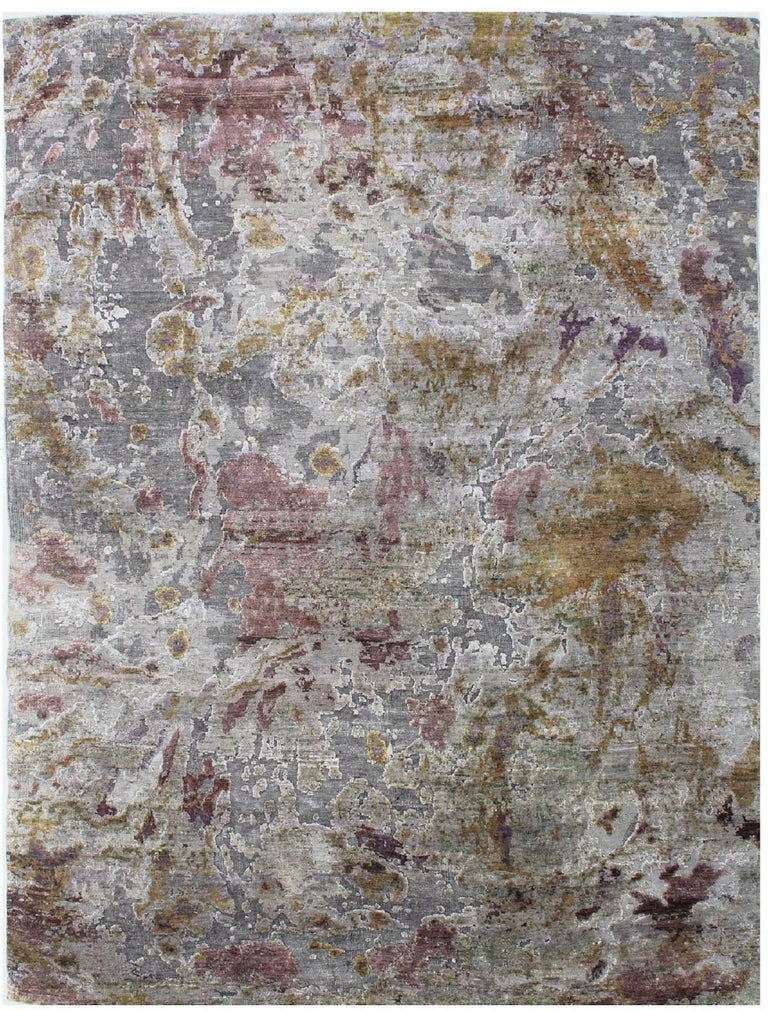 Taupe Grey Pink Yellow Lilac Hand-knotted Wool and Silk Textured Rug 10'x14'  For Sale