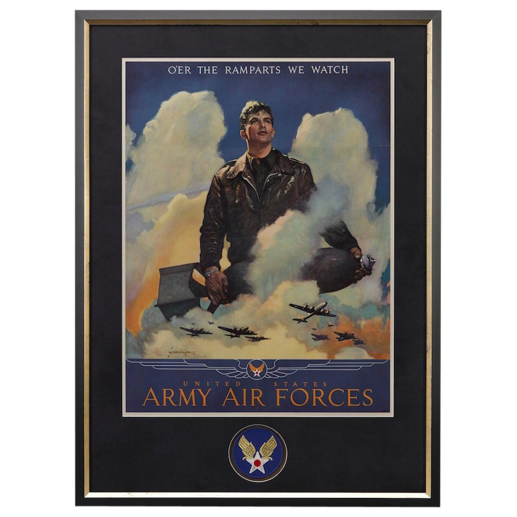 """Army Air Forces WWII Poster """"O'er the Ramparts We Watch"""" by Jes Schlaikjer, 1944"""