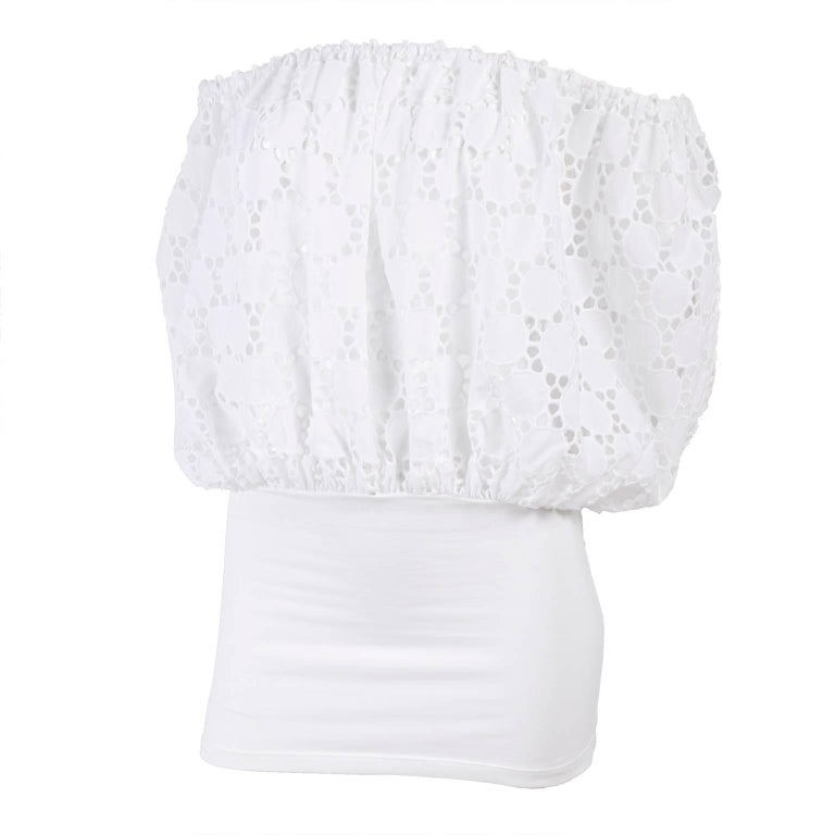 Off Shoulder Anne Fontaine White Eyelet Cotton Blouse Top New With Tags
