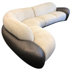 Off White and Brown Freeform Sectional Sofa