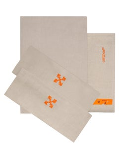 Off-White Arrow Double Bed Set Linen Beige Orange