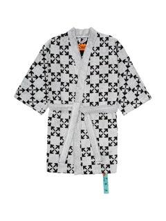 Off-White Arrow Pattern Bathrobe White Black Size L/XL