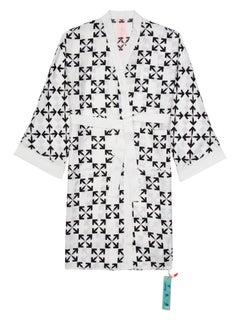 Off-White Arrow Pattern Robe White Black Medium