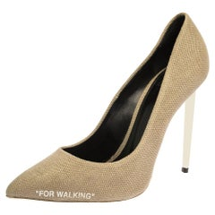 Off-White Beige Canvas Pointed Toe Pumps Size 39