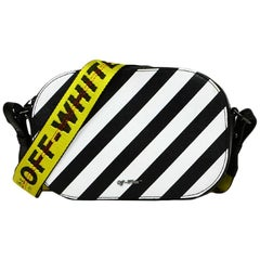 Off-White Black and White Diagonal Stripe Saffiano Leather Camera Crossbody Bag