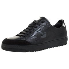 Off-White Black Arrow Print Leather Lace Up Sneakers Size 38