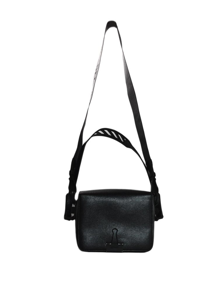 3200cf805 Women's or Men's Off-White Black Grained Leather Sculpture Binder Clip  Crossbody Bag For Sale