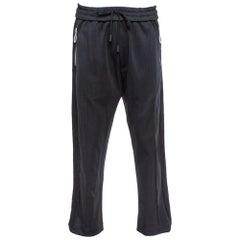 Off-White Black Knit Diagonal Brushed Stripe Detail Track Pants XL