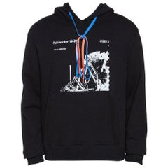 Off White Black Knit Ruined Factory Print Hoodie L