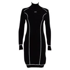 Off-White Black Knit Turtleneck Mini Dress M