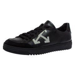 Off White Black Leather And Suede Low-Top Sneaker Size 39