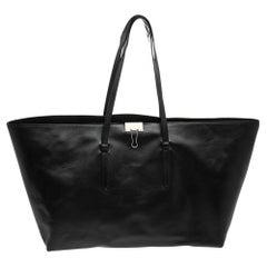 Off-White Black Leather Clip Motif Tote