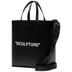 Off-White Black Leather Sculpture Tote Bag one size