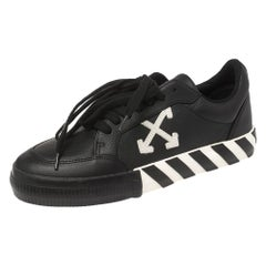 Off-White Black Leather Vulcanized Low Top Sneakers Size 40