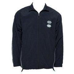 Off-White Black Logo Detail Zip Front Track Jacket L