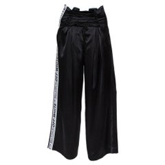 Off-White Black Satin Corsetry Striped Track Pants S
