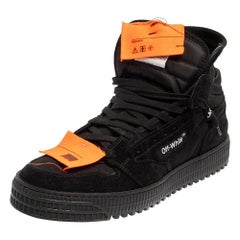 Off-White Black Suede And Canvas Off-Court 3.0 Hight Top Sneakers Size 43