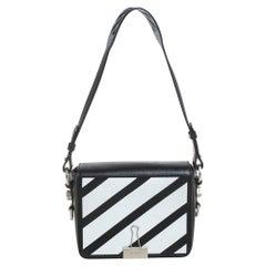 Off-White Black/White Diagonal Print Leather Binder Clip Crossbody Bag