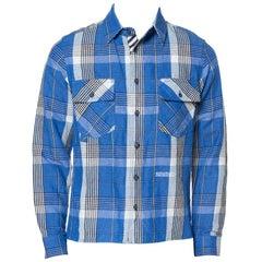 Off-White Blue Checked Cotton Linen Shirt XS