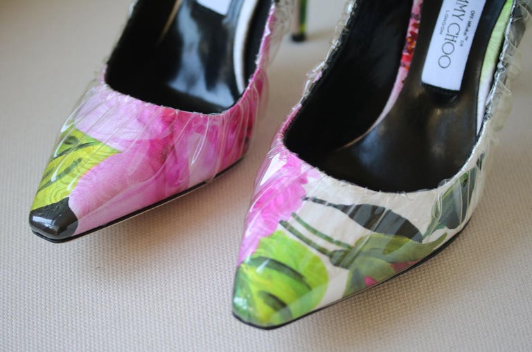 Off-White C/O Jimmy Choo Anne 100 PVC-Wrapped Floral-Print Satin Pumps In New Condition For Sale In London, GB