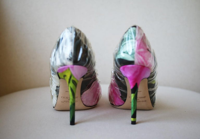 Women's Off-White C/O Jimmy Choo Anne 100 PVC-Wrapped Floral-Print Satin Pumps For Sale