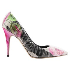Off-White C/O Jimmy Choo Anne 100 PVC-Wrapped Floral-Print Satin Pumps