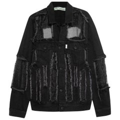 Off-White c/o Virgil Abloh Organza Paneled Frayed Denim Jacket