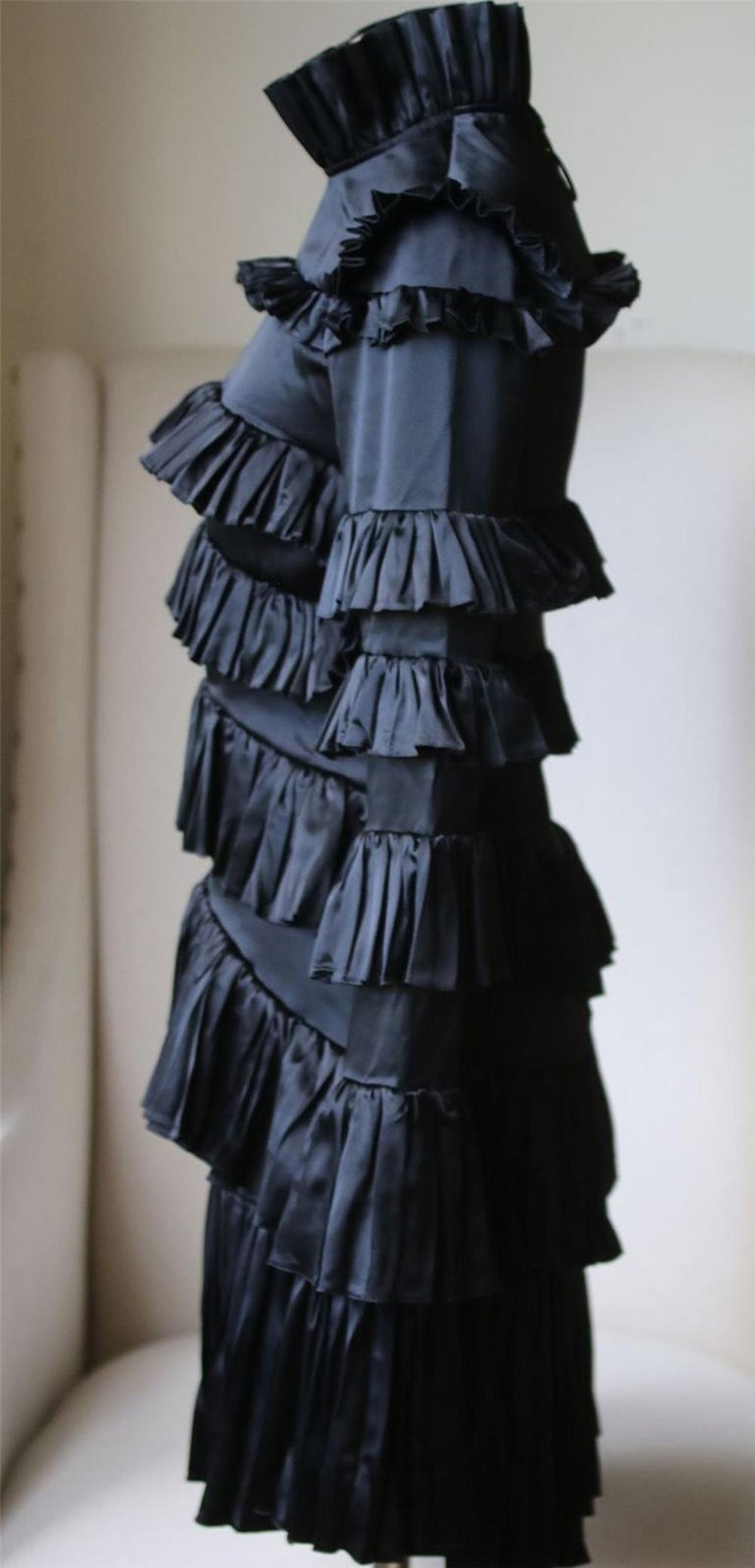 Black Off-White c/o Virgil Abloh Tiered Ruffled Mini Dress  For Sale