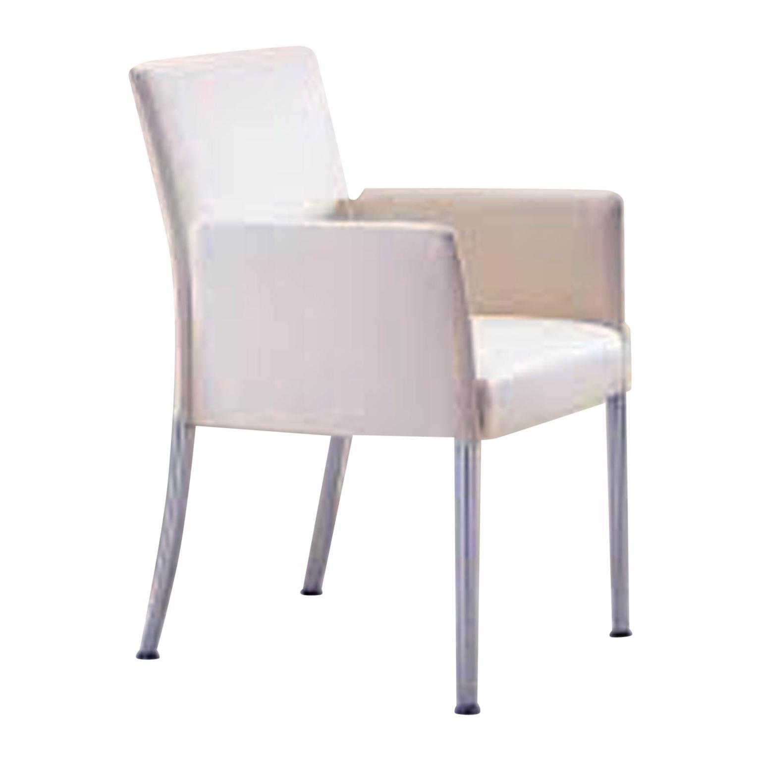 Off White Leather Jason Armchair with Chrome Legs