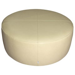 Off-White Leather Ottoman by Molteni & C.