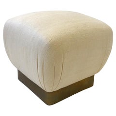 Off White Linen and Aged Brass Pouf by Marge Carson