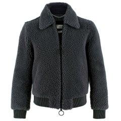 Off-White Men's Grey Shearling Bomber Jacket - Us size 36