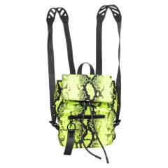 Off-White Neon Green Animal Print Nylon And Leather Backpack