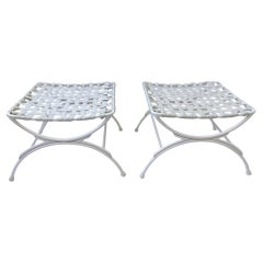 off White Pair of Outdoor Ottoman by Keller Scroll of Miami