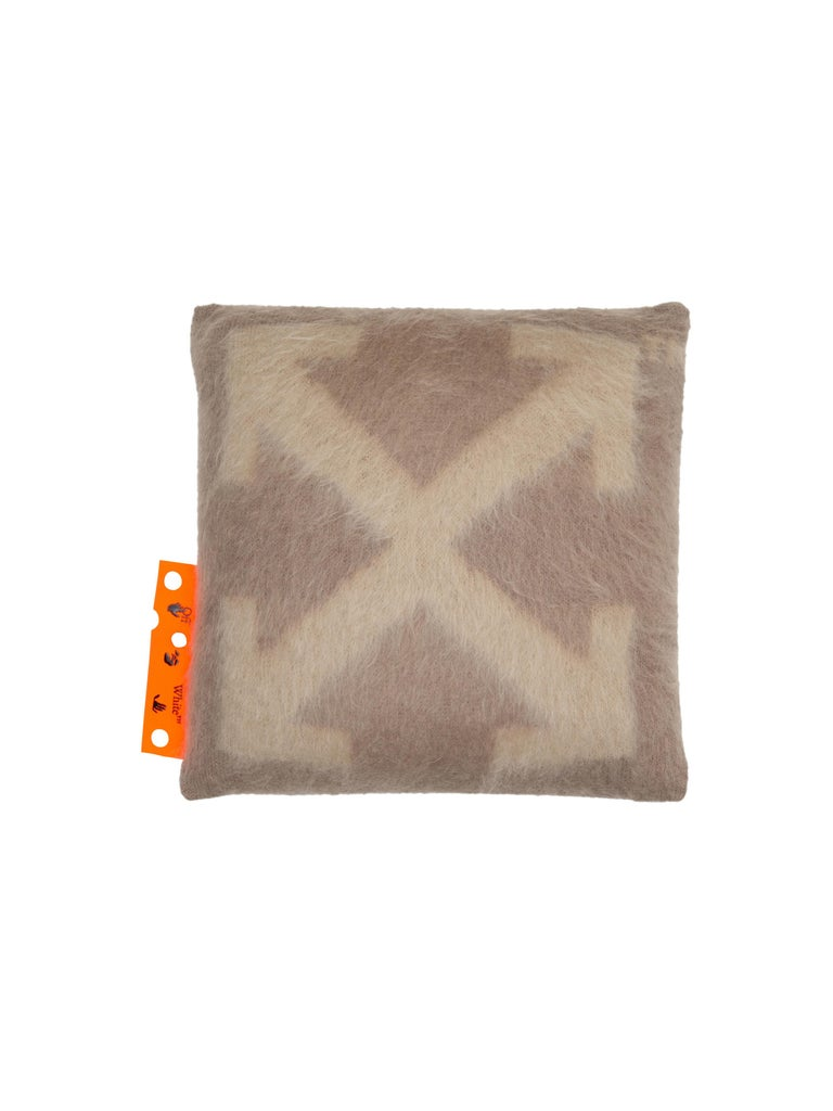 Brushed mohair Small Pillow with big arrow, taupe colors variations