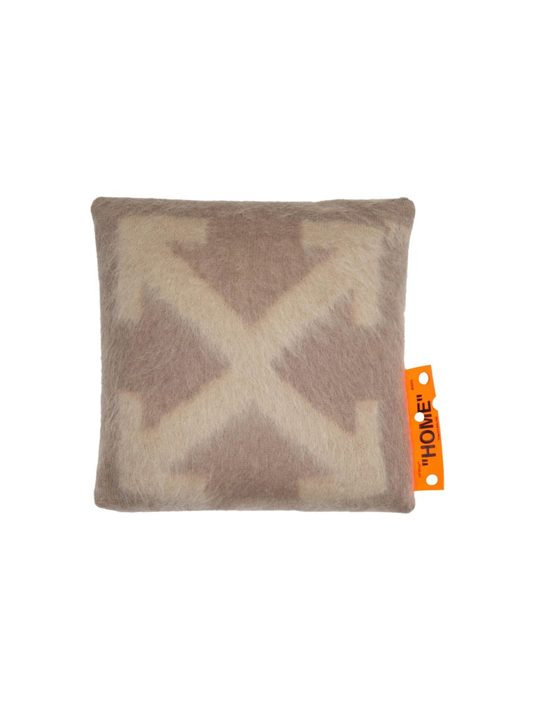 Off-White Pillow Small Taupe Beige For Sale