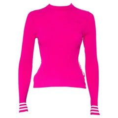 Off-White Pink Rib Knit Logo Strip Detail Long Sleeve Industrial Top S