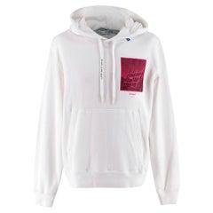 Off-White Pink/White Cotton Print Incompiuto Hoodie - Size L