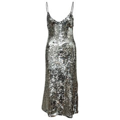 Off-White Silver Sequined Sleeveless Evening Dress