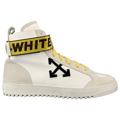 OFF-WHITE Size 11 White Leather & Suede High Top Sneakers