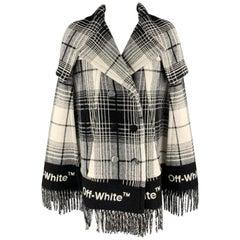 OFF-WHITE Size 8 Black & White Plaid Virgin Wool Blend Flannel Fringe Cape