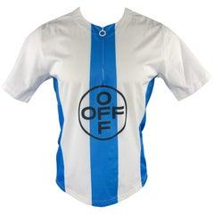 OFF-WHITE Size M Blue & White Print Polyester / Polyurethane Half Zip T-shirt