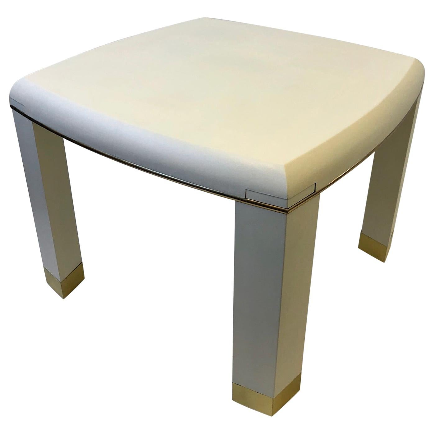 Off-White Snake Leather and Brass Game Table with Drink Holder, Springer Style