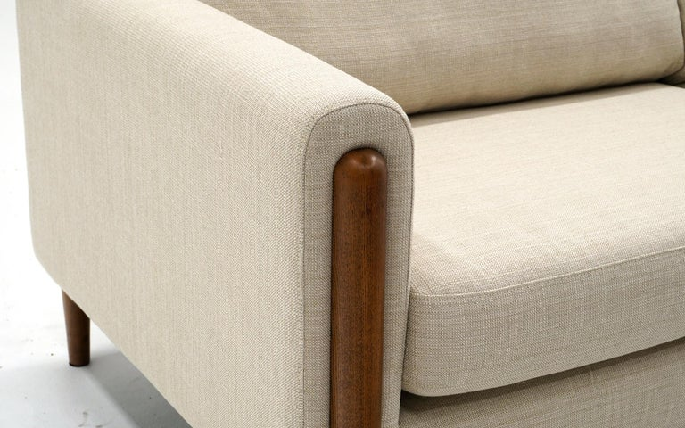 Modern Off White Sofa with Walnut Legs by Nuevo, Almost New For Sale