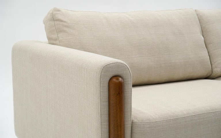 Vietnamese Off White Sofa with Walnut Legs by Nuevo, Almost New For Sale