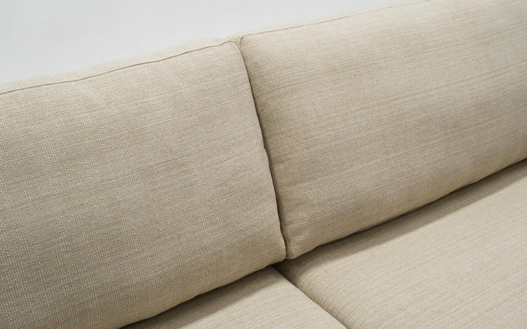 Contemporary Off White Sofa with Walnut Legs by Nuevo, Almost New For Sale