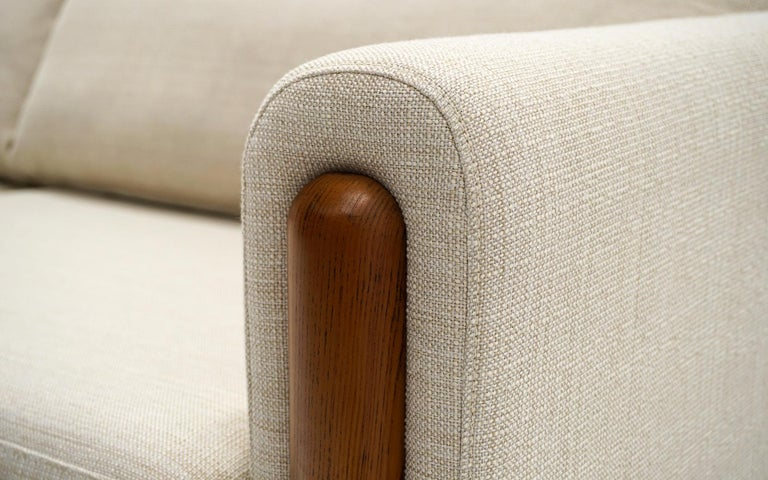 Upholstery Off White Sofa with Walnut Legs by Nuevo, Almost New For Sale