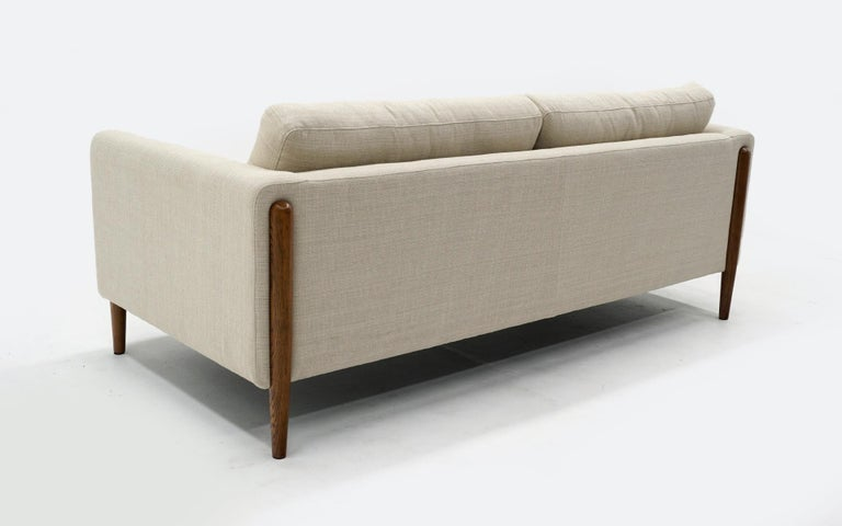 Off White Sofa with Walnut Legs by Nuevo, Almost New For Sale 1