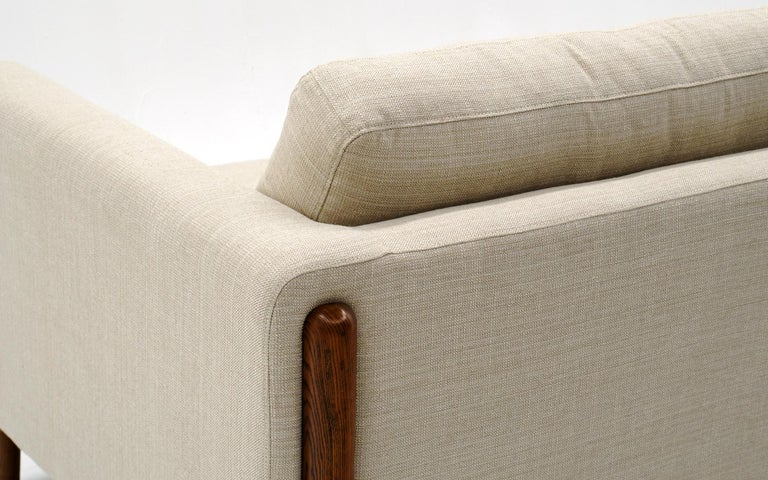 Off White Sofa with Walnut Legs by Nuevo, Almost New For Sale 2